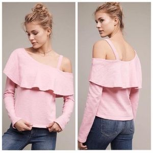 Anthropologie Postmark Pink One Shoulder Top